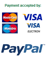 Payment accepted by Mastercard, Visa, Maestro and PayPal
